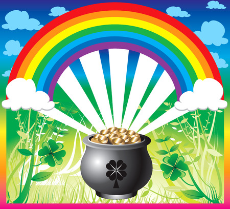 Illustration of pot of gold rainbow with a colorful background and a place for text or imagery.