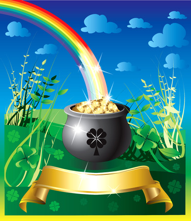 Illustration of pot of gold rainbow with a colorful background and a place for text or imagery.  Vector