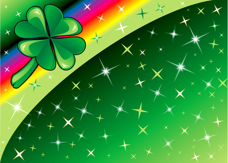 Shamrock Rainbow Background 2 with stars. There is space for text or image. Vector