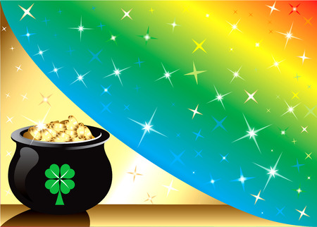 Golden Pot Gold Rainbow star Background with stars. There is space for text or image.