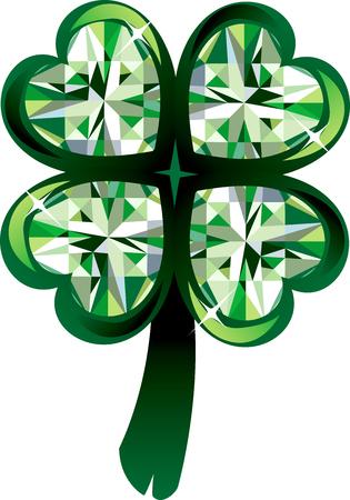 Illustration of diamond four leaf clover shamrock. St. Patrick's Day.