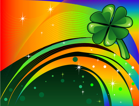 seventeenth: Abstract shamrock with rainbow colored background. St. Patricks Day Background.