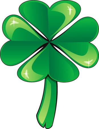seventeenth: illustration four leaf clover shamrock. St. Patricks Day.