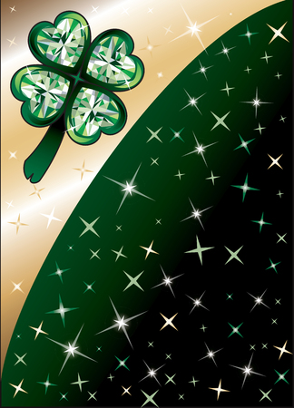 Golden Diamond Green Clover Shamrock Background with stars. There is space for text or image.