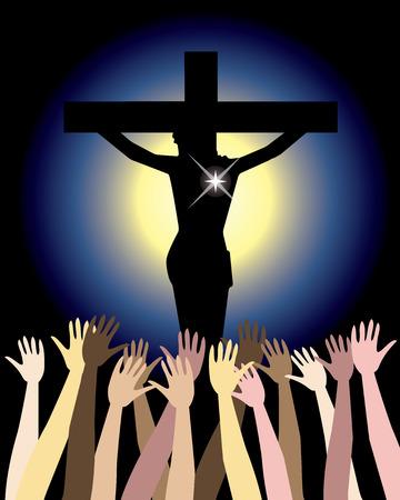 skin tones: Illustration showing the power of the holy spirit, Jesus Christ on cross. Easter Resurrection Illustration