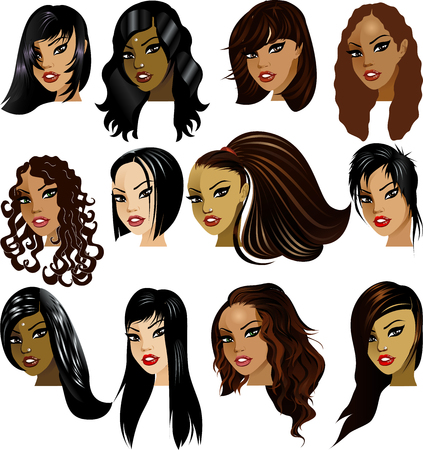 Illustration of Indian, Asian, Oriental, Middle Eastern and Hispanic Women Faces. Great for avatars, makeup, skin tones or hair styles of dark haired women. Vectores