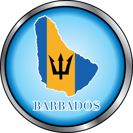 Illustration for Barbados, Round Button. Used Didot font. Illustration
