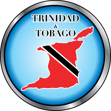 Illustration for Trinidad &amp, Tobago, Round Button. Used Didot font. Vector