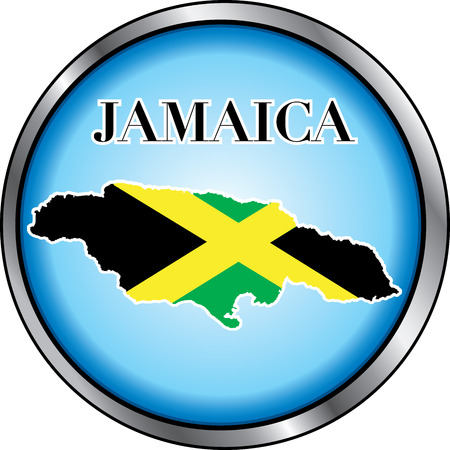 Illustration for Jamaica, Round Button. Used Didot font. Vector