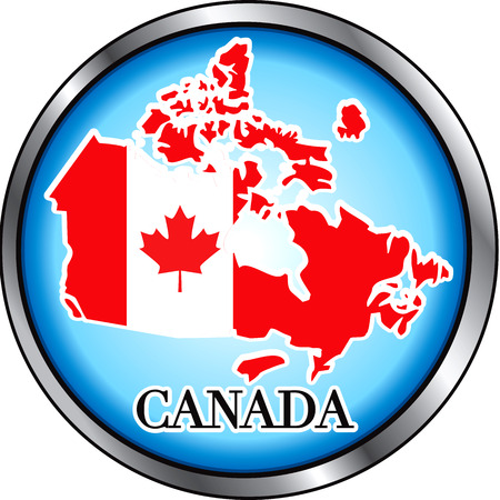 the americas: Illustration for Canada, Round Button. Used Didot font.