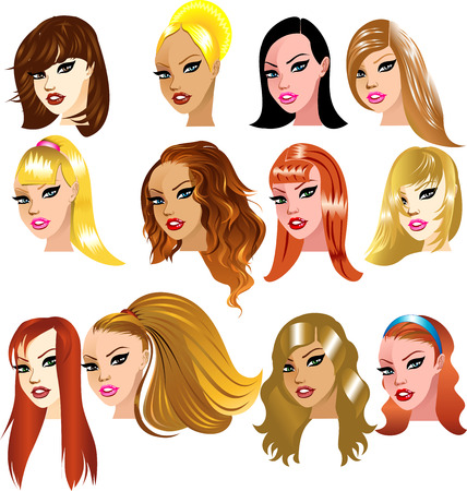 Illustration of White Women Faces. Great for avatars, makeup, skin tones or hair styles of Caucasian women.