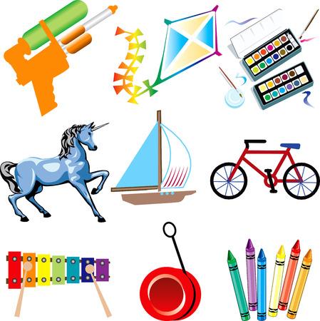 hobby horse: Illustration of Toy Icons Isolated.