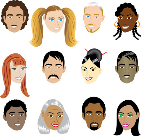 People Faces 1.Illustration set of 12 peoples on a diverse set of cultures. Also available in other sets. Stock Vector - 6544735