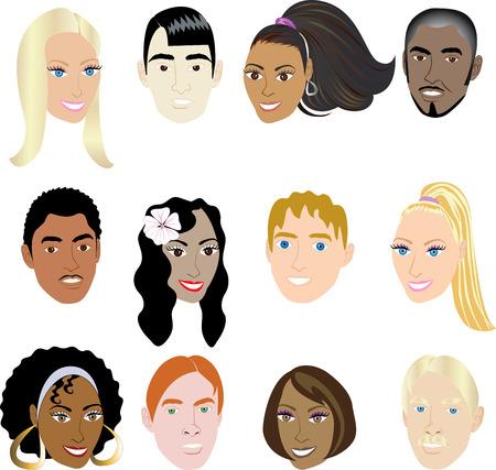 gesichter: Menschen Faces 2. Abbildung Satz von 12 V�lker auf einen unterschiedlichen Satz von Kulturen. Auch in anderen Sets erh�ltlich.