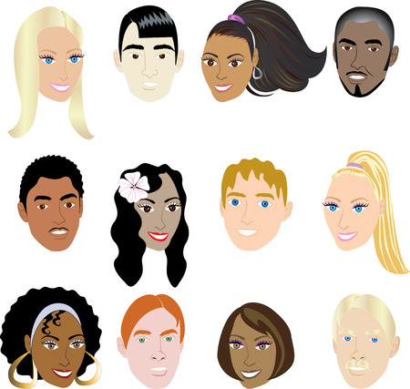 ansikten: People Faces 2. Illustration set of 12 peoples on a diverse set of cultures. Also available in other sets.