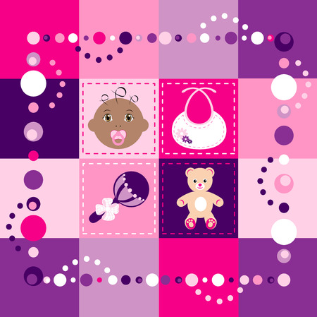 Illustration of baby girl quilt. Patchwork or sewing, background.