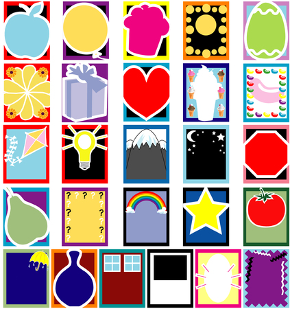 Fun 26 Colorful Object Silhouette cards or templates. No gradients used and very easy to edit. Vector