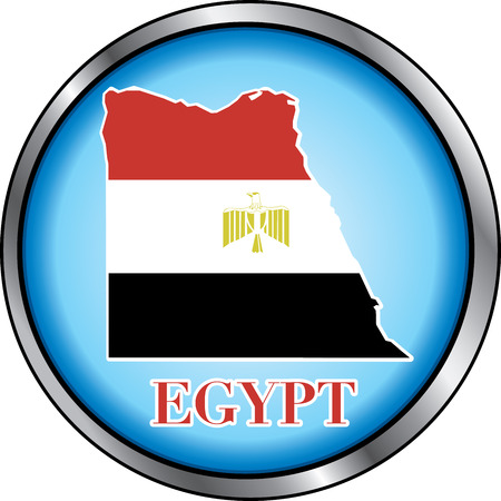 Vector Illustration for Egypt, Round Button. Used Didot font. Vector