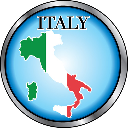 Vector Illustration for Italy, Round Button. Used Didot font. Vector