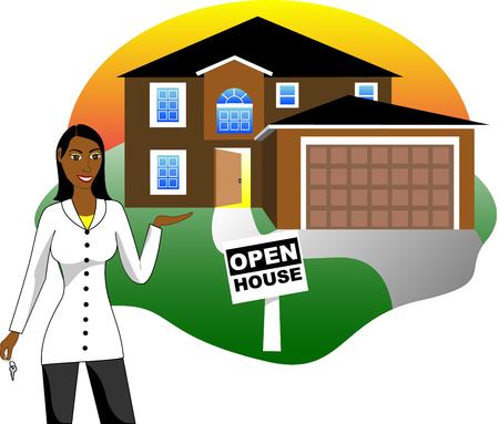 open huis: Vector illustratie. Een onroerende goederen agent met toetsen reclame een open huis weer geven. Versie 3 van 6.
