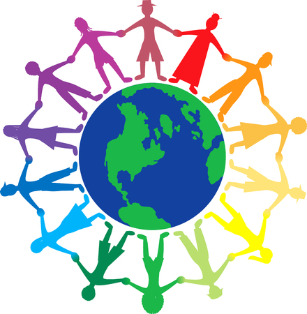 Vector of people all around the world holding hands.