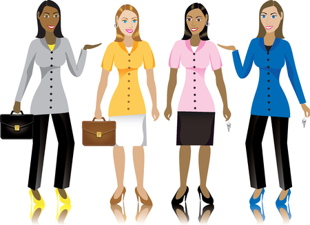 adolescent african american: Career business women in suits.  Illustration.
