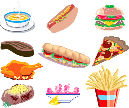 Illustration of ten types of prepared food.