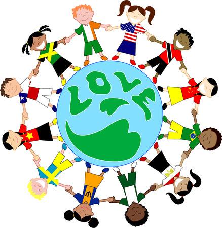 chilean flag: Vector Kids Flag globos de amor de camisas. Globos de amor de ni�os 3. Vectores