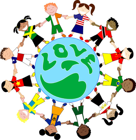 Vector Kids Flag Shirts Love Globe. Kids Love Globe 3.