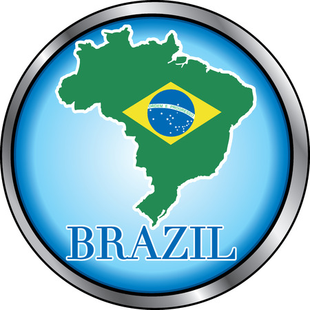 Illustration for Brazil, Round Button. Used Didot font. Vector