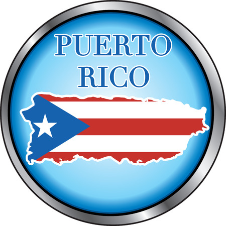 Illustration for Puerto Rico, Round Button. Used Didot font. Vector