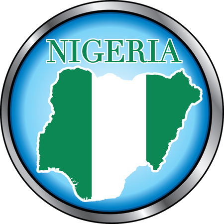 Illustration for Nigeria, Round Button. Used Didot font. Vector