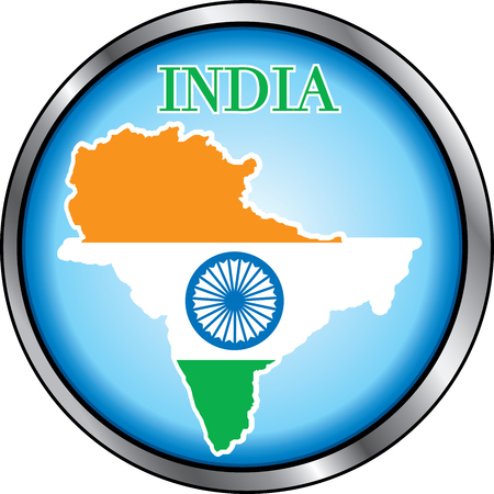 east indian: Illustration for India, Round Button. Used Didot font.