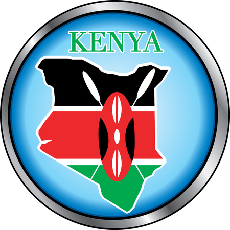 Illustration for Kenya, Round Button. Used Didot font. Vector