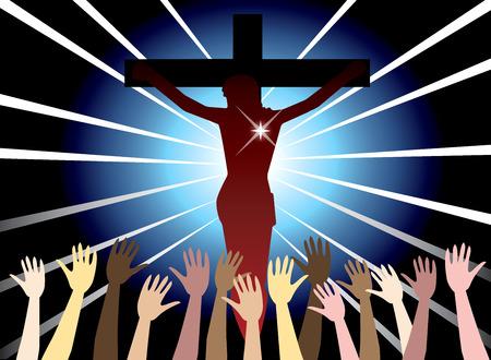 Illustration of Jesus Christ on cross. Easter Resurrection.