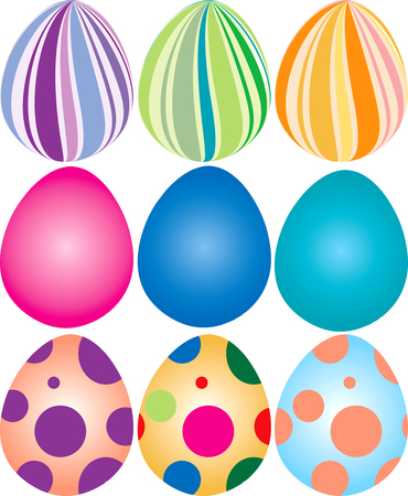 Illustration of 9 decorated easter eggs.