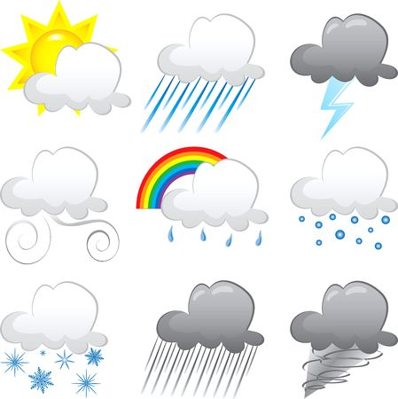 Vector Illustration of 9 cloud weather Icons. Very Easy to edit.