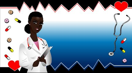 Vector of black woman doctor medical template. See others in this series. photo