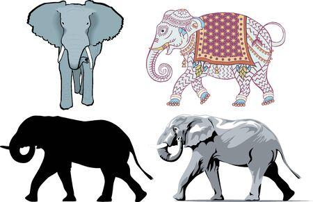 Illustration of 4 different styles of Elephants. illustration