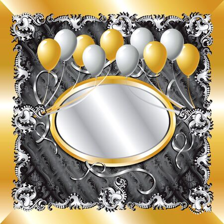 mirror frame: Illustration of fancy Gold &amp, Silver Balloon Background template. Can be used for weddings, parties and more. Template design, can insert text or photo.