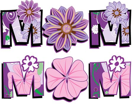 Vector Illustration of Mom Text 1 in two versions. I am also selling the Floral pattern seperately. Stock Photo