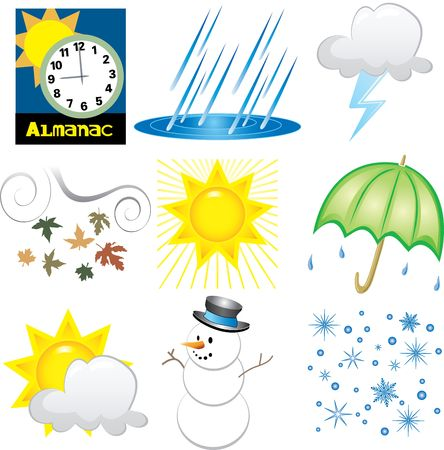 Illustration of 9 Weather Icons. Very Easy to edit.