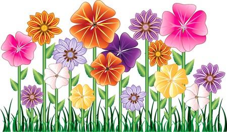 blumen cartoon: Illustration von einem Blumengarten mit Gras. Einfach, Elemente zu verschieben.