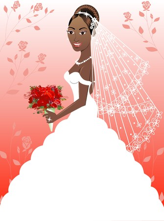 A beautiful black woman on her wedding day. Wedding Gown 4. Vector