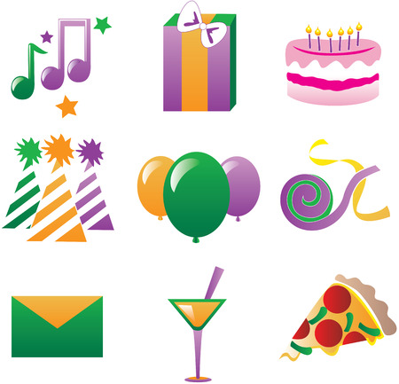 Nine fun party icons.  Illustration easy to edit, also available in other colors. Illustration