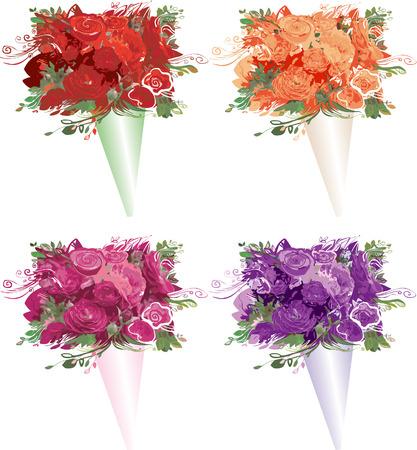Illustratie van 4 rozen boeketten.  Stock Illustratie