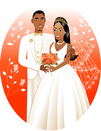jamaican:  Illustration. A beautiful bride and groom on their wedding day.  Wedding Couple Bride Groom 3.
