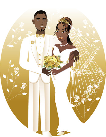 woman tie:  Illustration. A beautiful bride and groom on their wedding day. African American Wedding Couple. Bride Groom 2.