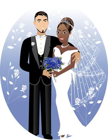 イラスト。美しい花嫁と新郎の結婚式の日。異人種間結婚式のカップル。花嫁新郎 2