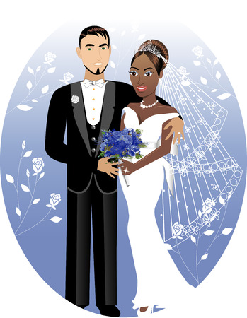 strapless:  Illustration. A beautiful bride and groom on their wedding day. Interracial Wedding Couple. Bride Groom 2
